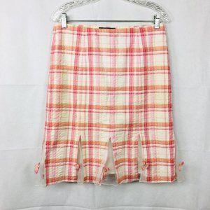 Karen Kane Cotton Tulle Hem Plaid Skirt Sz 4